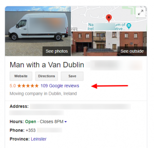 Google review for a moving company placed in Dublin